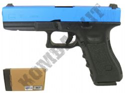 Army R17 BB Gun Glock Replica Gas Blowback Airsoft Pistol 2 Tone Blue Black Metal Slide